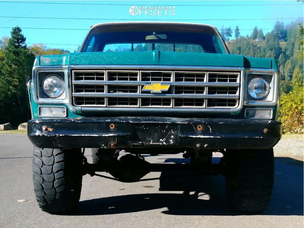 "1977 Chevrolet K10 Pickup Slightly Aggressive on 17x8 0 offset Ultra Phantom 225 & 35""x12.5"" Kumho Road Venture MT on Suspension Lift 4"" - Custom Offsets Gallery"