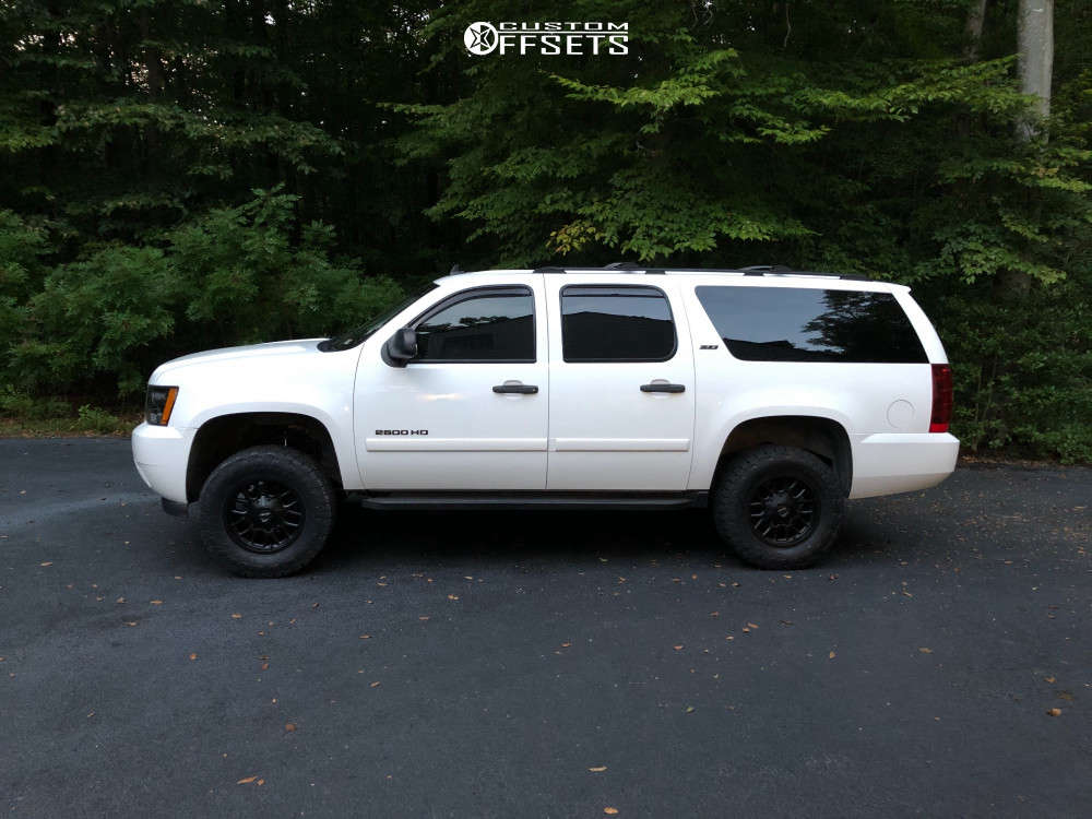 """2007 Chevrolet Suburban 2500 Slightly Aggressive on 18x9 0 offset Mayhem Cogent & 33""""x12.5"""" Toyo Open Country A/t Iii on Suspension Lift 3"""" - Custom Offsets Gallery"""