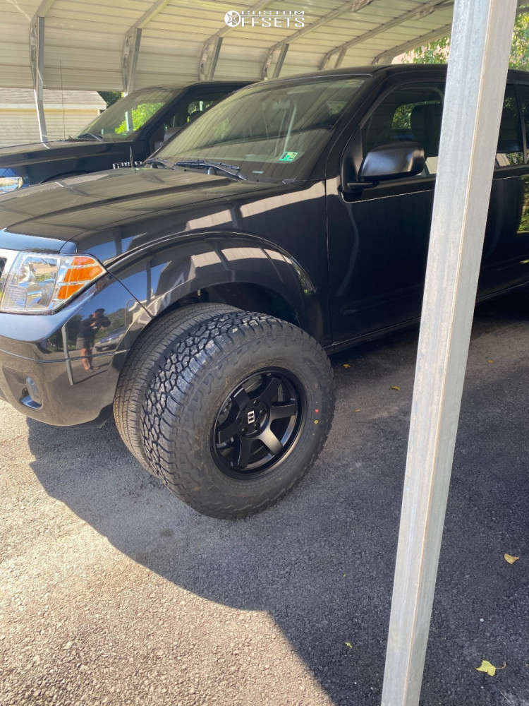 """2019 Nissan Frontier Aggressive > 1"""" outside fender on 16x8 0 offset Level 8 Mk6 and 265/70 Falken Wildpeak At3w on Stock Suspension - Custom Offsets Gallery"""
