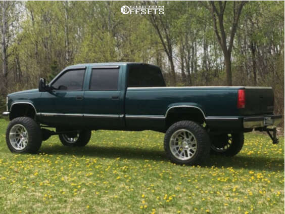 """1998 Chevrolet K3500 Aggressive > 1"""" outside fender on 22x12 -44 offset Axe Offroad Ax2.1 and 37""""x12.5"""" Nitto Ridge Grappler on Suspension Lift 9"""" - Custom Offsets Gallery"""
