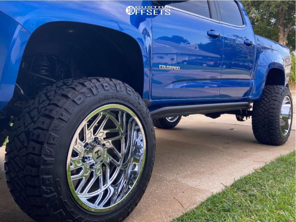 "2020 Chevrolet Colorado Super Aggressive 3""-5"" on 20x12 -55 offset Hostile Jigsaw & 33""x12.5"" Nitto Ridge Grappler on Suspension Lift 7"" - Custom Offsets Gallery"