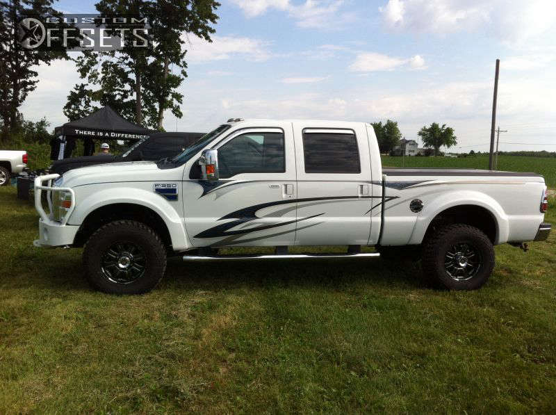 """2008 Ford F-350 Super Duty Nearly Flush on 18x9 0 offset American Racing ATX N/A and 305/18.5 kanati Bogger on Suspension Lift 4"""" - Custom Offsets Gallery"""