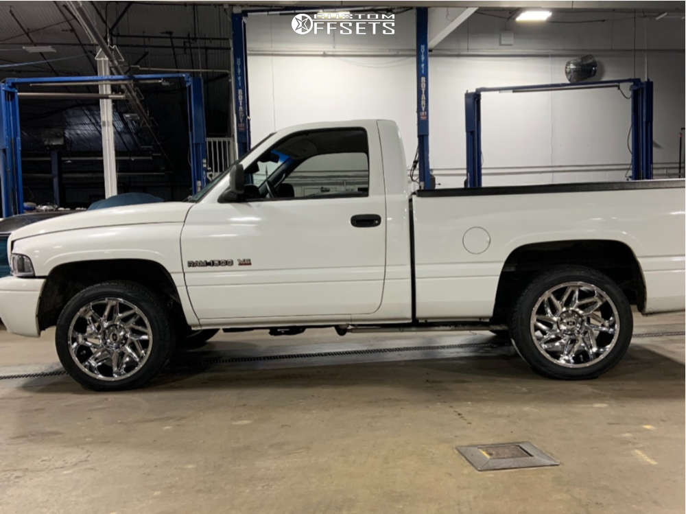 """1998 Dodge Ram 1500 Aggressive > 1"""" outside fender on 20x10 -25 offset Vision Spyder and 265/45 Toyo Tires Proxes St Iii on Level 2"""" Drop Rear - Custom Offsets Gallery"""