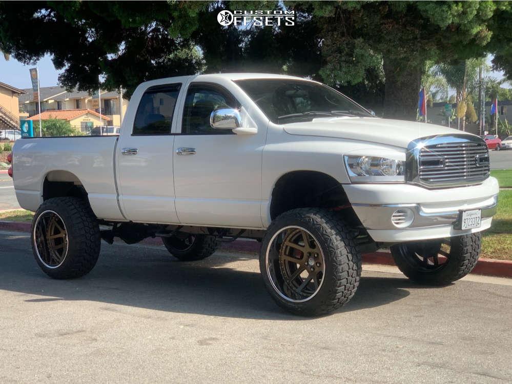 "2007 Dodge Ram 1500 Hella Stance >5"" on 24x14 -90 offset OG 3pc SRT10 3 Piece and 37""x13.5"" RBP Repulsor Mt on Suspension Lift 7.5"" & Body 3"" - Custom Offsets Gallery"