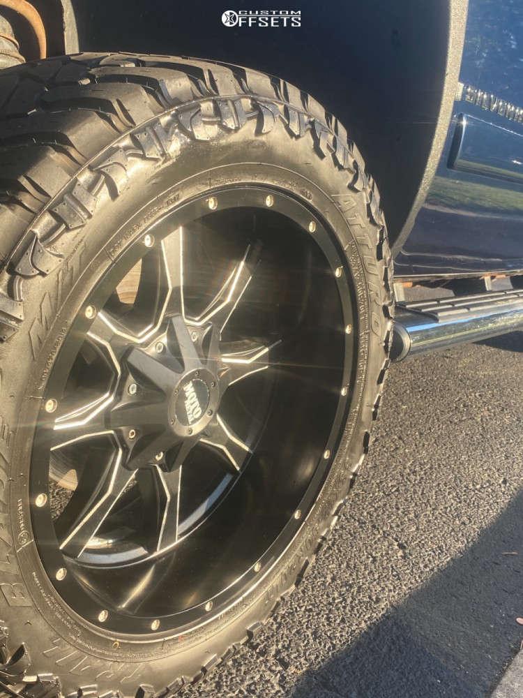 "2008 Chevrolet Silverado 1500 Aggressive > 1"" outside fender on 20x12 -44 offset Moto Metal Mo970 & 30""x12.5"" Atturo Trail Blade Mt on Leveling Kit - Custom Offsets Gallery"