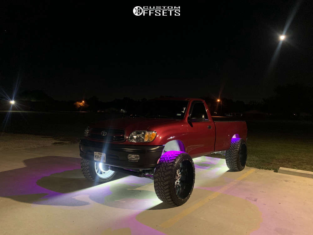 """2000 Toyota Tundra Hella Stance >5"""" on 26x14 -74 offset American Truxx Dna and 37""""x13.5"""" Black Bear Mud Terrain on Suspension Lift 4.5"""" - Custom Offsets Gallery"""