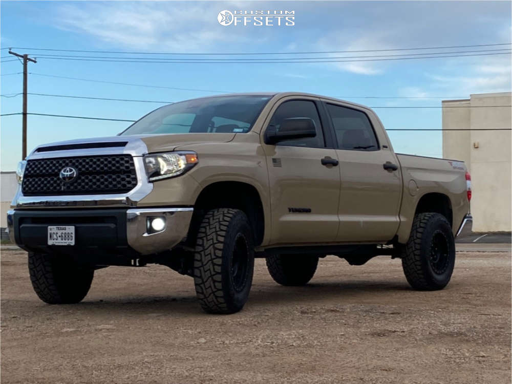 """2020 Toyota Tundra Slightly Aggressive on 18x9 0 offset Method Mesh and 35""""x12.5"""" Toyo Tires Open Country R/t on Suspension Lift 3.5"""" - Custom Offsets Gallery"""