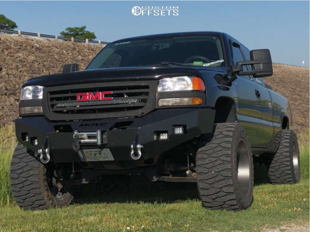 """2007 GMC Sierra 1500 Classic Hella Stance >5"""" on 20x12 -51 offset Toxic Punisher and 375/45 Atturo Trail Blade Boss on Suspension Lift 6"""" - Custom Offsets Gallery"""