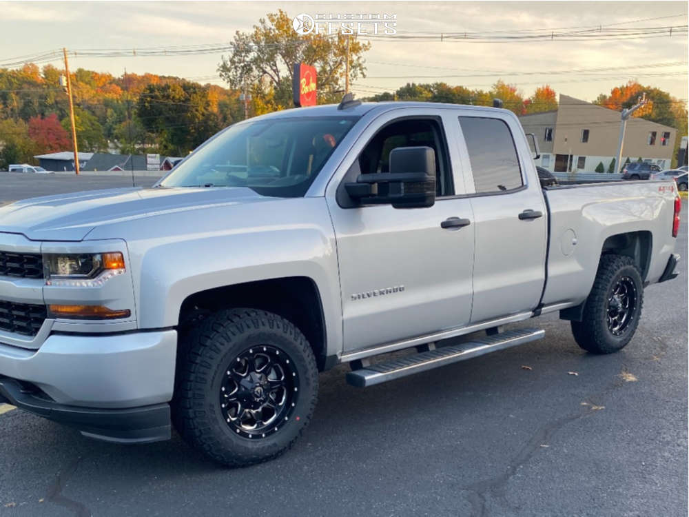 """2019 Chevrolet Silverado 1500 LD Aggressive > 1"""" outside fender on 17x9 0 offset Fuel Boost & 265/70 Goodyear Wrangler Duratrac on Stock Suspension - Custom Offsets Gallery"""