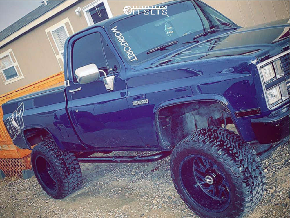 """1984 Chevrolet K10 Pickup Aggressive > 1"""" outside fender on 20x12 -44 offset TIS 544mb & 33""""x14.5"""" Fury Offroad Country Hunter Mt on Suspension Lift 4"""" - Custom Offsets Gallery"""