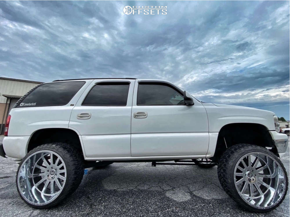"""2003 Chevrolet Tahoe Hella Stance >5"""" on 26x14 -76 offset Hardcore Offroad Hc13 and 35""""x13.5"""" Fury Offroad Country Hunter Mt on Suspension Lift 7.5"""" - Custom Offsets Gallery"""