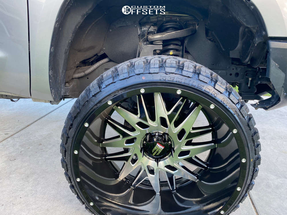 """2017 Toyota Tundra Aggressive > 1"""" outside fender on 26x14 -76 offset American Truxx Dna and 35""""x13.5"""" RBP Repulsor Mt on Suspension Lift 7"""" - Custom Offsets Gallery"""