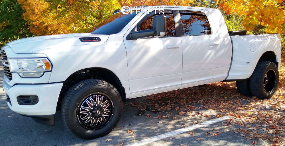 """2020 Ram 3500 Aggressive > 1"""" outside fender on 20x8.5 -211 offset Vision Rival & 275/65 Milestar Patagonia X/t on Stock Suspension - Custom Offsets Gallery"""