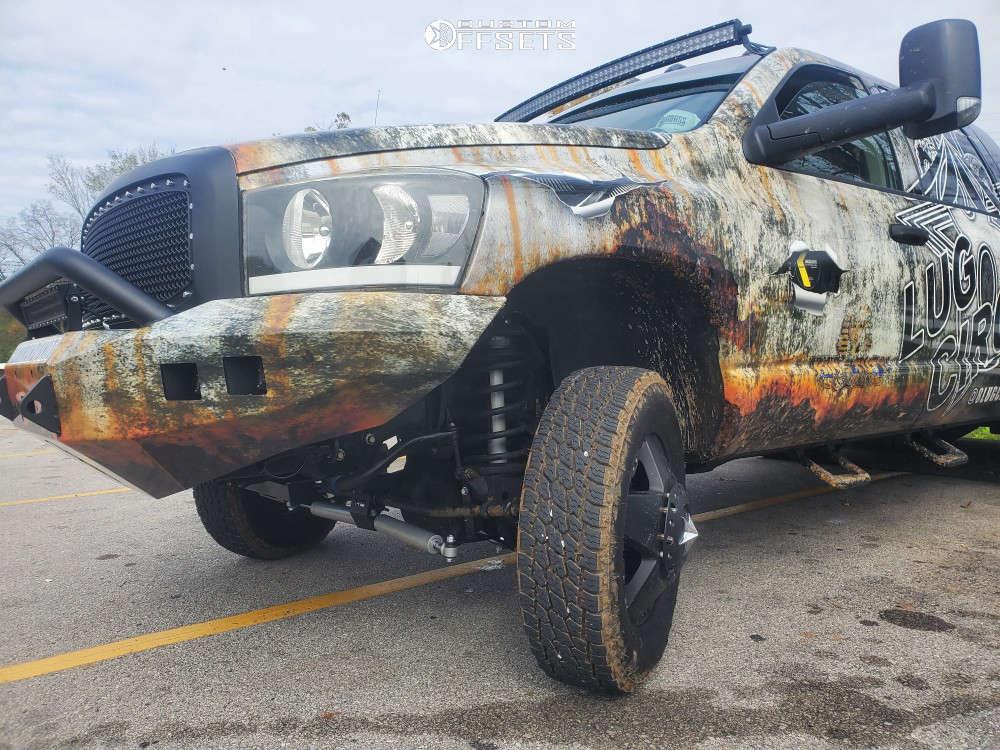 "2007 Dodge Ram 3500 Nearly Flush on 17x9 -140 offset XD Rockstar Dually & 33""x11.5"" Nitto Terra Grappler G2 on Leveling Kit - Custom Offsets Gallery"