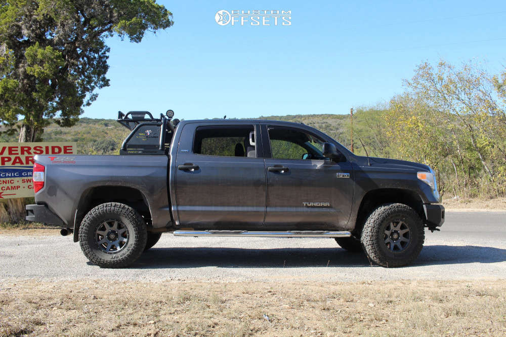 """2017 Toyota Tundra Aggressive > 1"""" outside fender on 17x8.5 25 offset Icon Alloys Rebound and 35""""x12.5"""" Kenda Klever R/t on Suspension Lift 3.5"""" - Custom Offsets Gallery"""