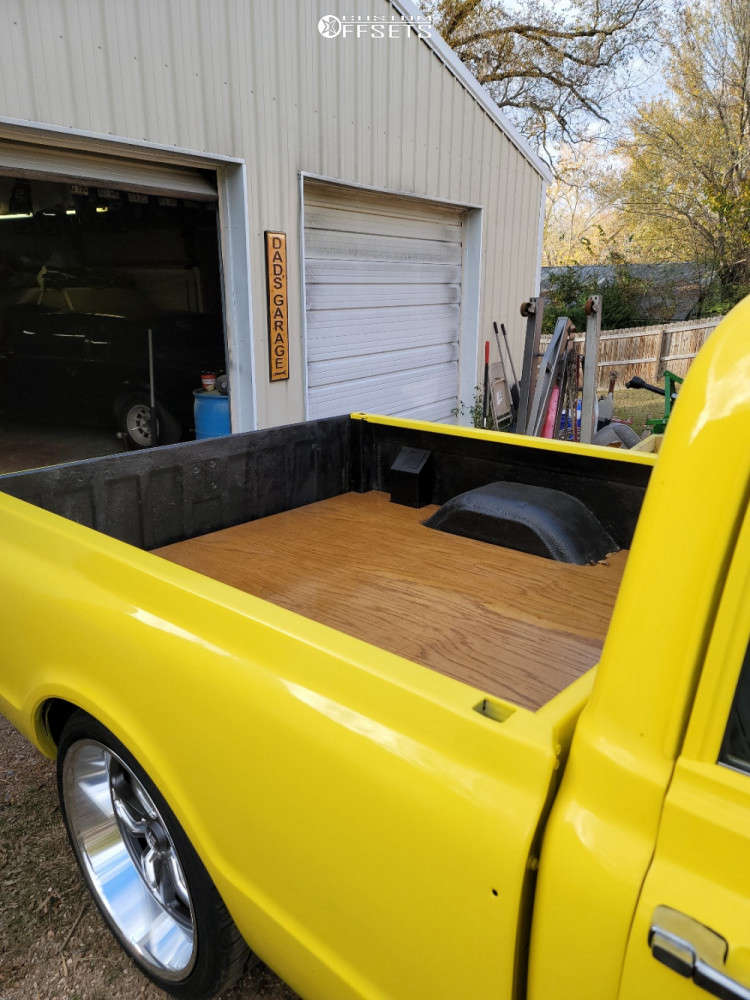"""1971 Chevrolet C10 Pickup Aggressive > 1"""" outside fender on 22x8.5 0 offset US Mags C-ten and 235/8.5 Nitto Nt420v on Air Suspension - Custom Offsets Gallery"""