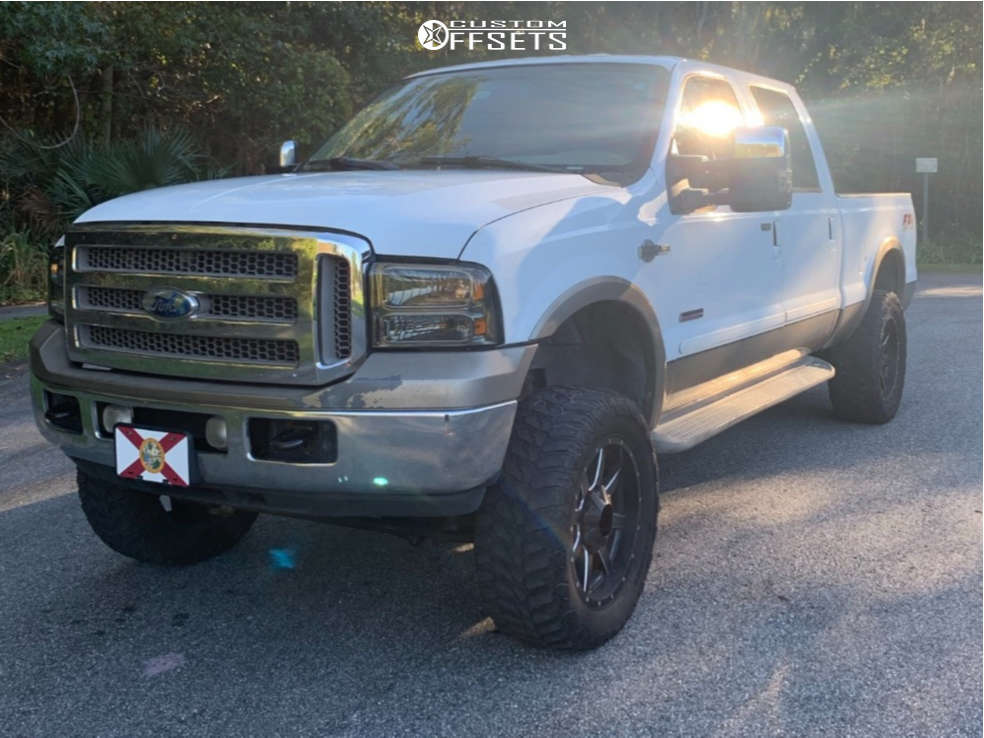 """2007 Ford F-250 Aggressive > 1"""" outside fender on 20x12 -44 offset Fuel Maverick & 37""""x12.5"""" Nitto Terra Grappler G2 on Suspension Lift 5"""" - Custom Offsets Gallery"""