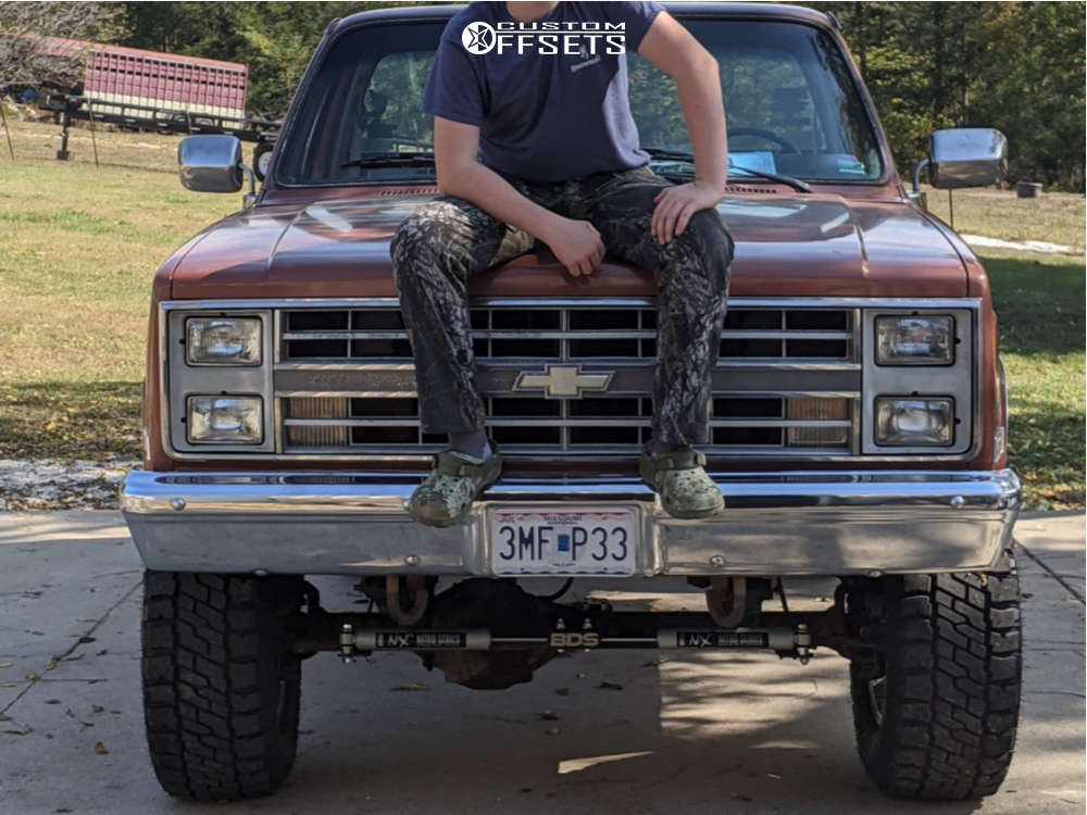 """1986 Chevrolet K10 Pickup Aggressive > 1"""" outside fender on 17x9 -12 offset Pacer 164 & 33""""x12.5"""" Dick Cepek Trail Country Exp on Suspension Lift 4"""" - Custom Offsets Gallery"""