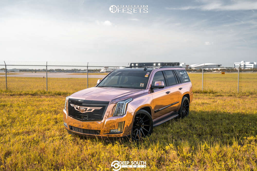"""2016 Cadillac Escalade Aggressive > 1"""" outside fender on 24x10 30 offset DUB Chedda and 295/35 Nitto Nt420s on Lowered 2F / 4R - Custom Offsets Gallery"""