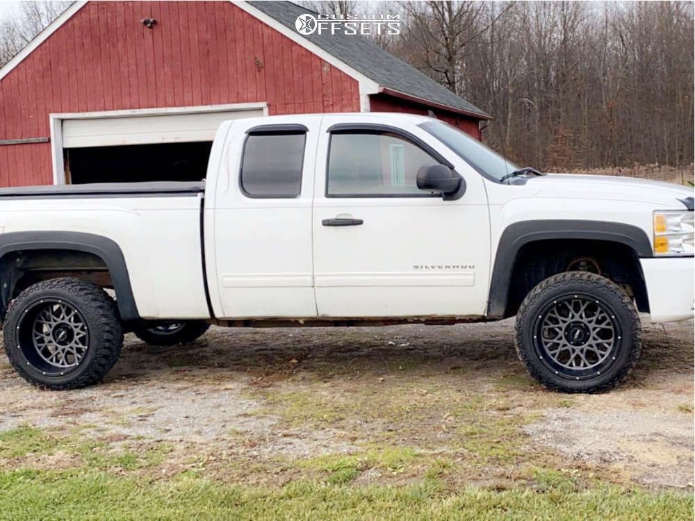 """2011 Chevrolet Silverado 1500 Classic Aggressive > 1"""" outside fender on 20x12 -51 offset Vision Rocker & 33""""x12.5"""" Antares Comfort A5 on Suspension Lift 3"""" - Custom Offsets Gallery"""