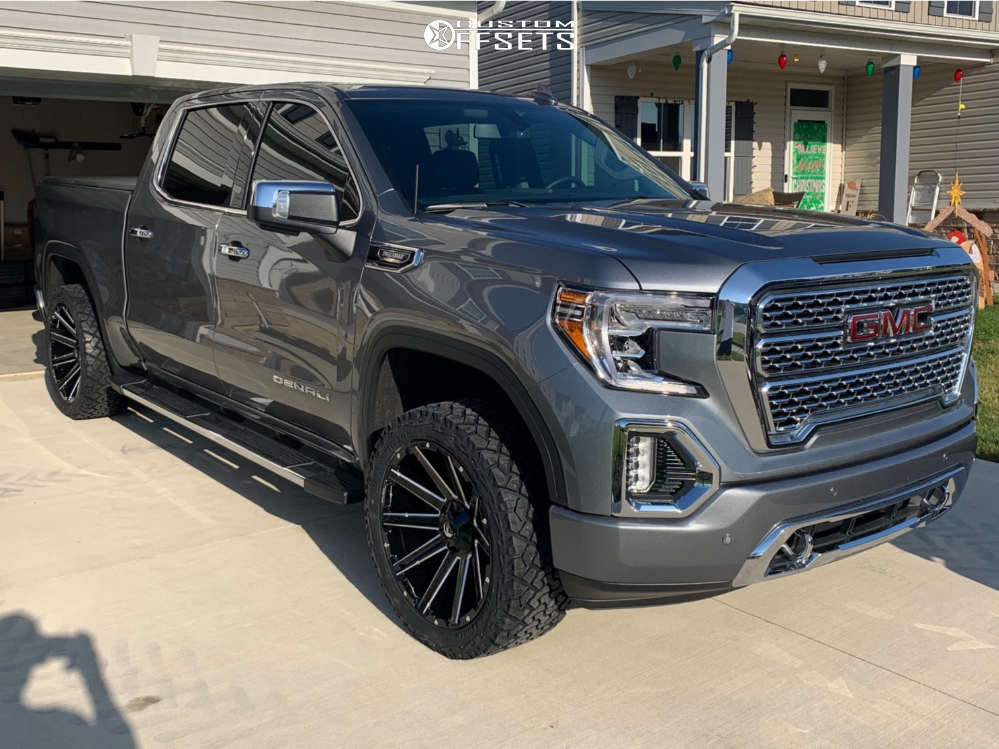 """2020 GMC Sierra 1500 Aggressive > 1"""" outside fender on 22x10 -18 offset Fuel Contra and 33""""x12.5"""" Venom Power Terra Hunter X/t on Leveling Kit - Custom Offsets Gallery"""
