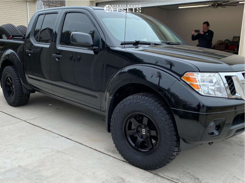 """2019 Nissan Frontier Slightly Aggressive on 16x8 0 offset Level 8 Mk6 and 31""""x10.5"""" Falken Wild Peak At3w on Stock Suspension - Custom Offsets Gallery"""