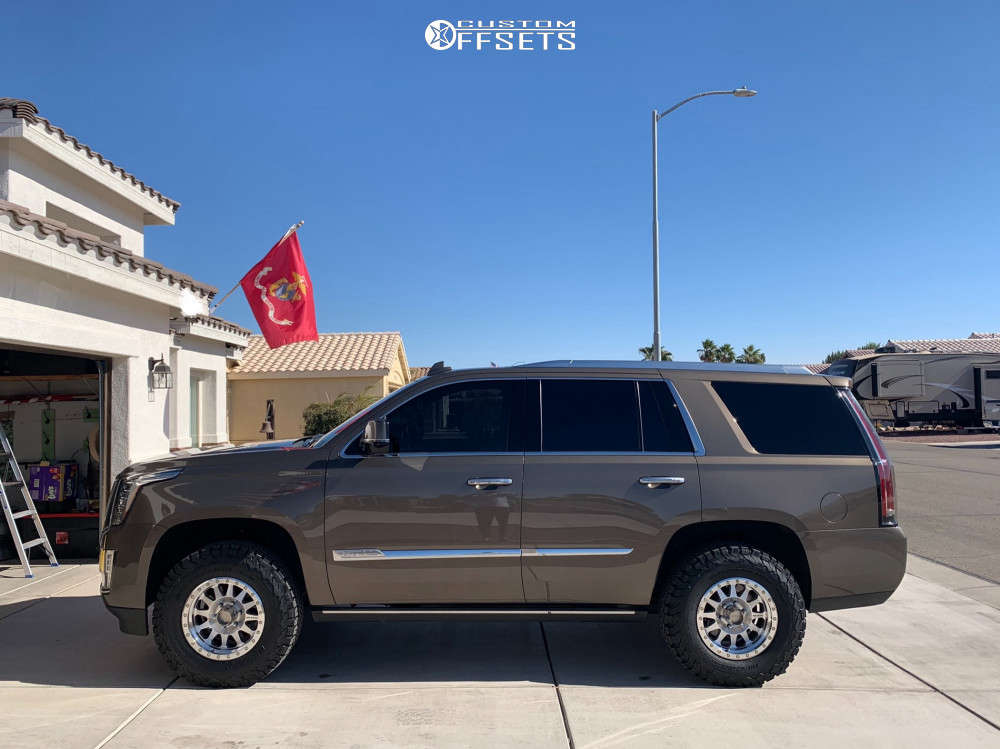 2016 Cadillac Escalade Slightly Aggressive on 17x8.5 0 offset Method Double Standard and 285/70 BFGoodrich All Terrain Ta Ko2 on Leveling Kit - Custom Offsets Gallery