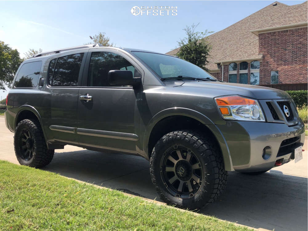 2015 Nissan Armada Slightly Aggressive on 20x9 0 offset XD XD852 Gauntlet & 305/55 Toyo Tires Open Country A/t Iii on Leveling Kit - Custom Offsets Gallery