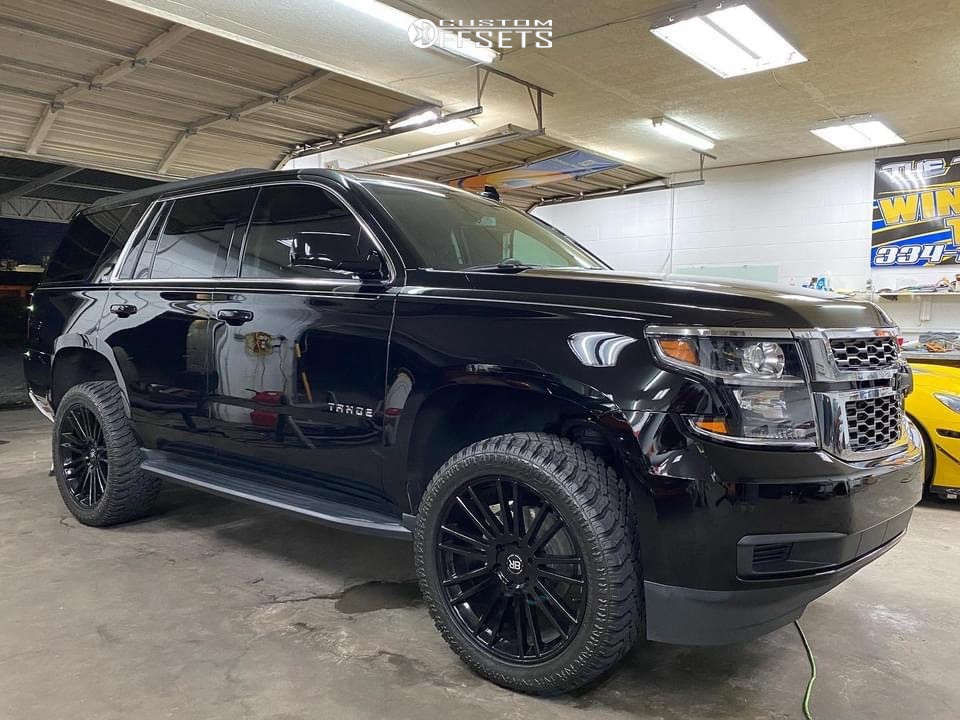 """2019 Chevrolet Tahoe Aggressive > 1"""" outside fender on 22x9.5 10 offset Black Rhino Kruger and 305/45 Atturo Trail Blade Xt on Suspension Lift 2.5"""" - Custom Offsets Gallery"""
