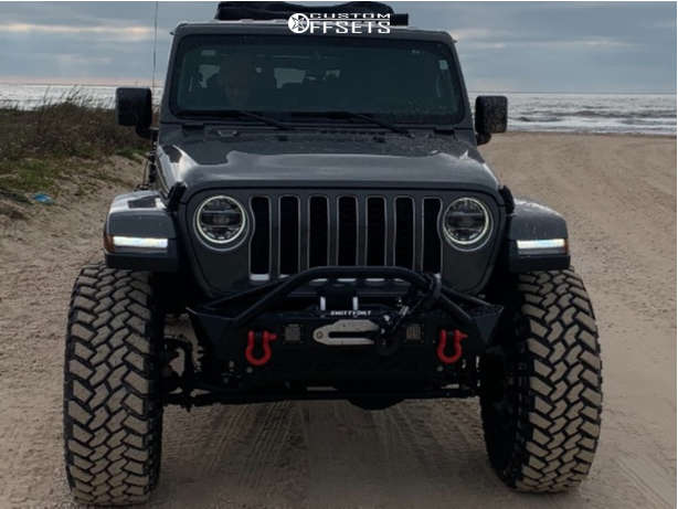"""2020 Jeep Gladiator Super Aggressive 3""""-5"""" on 17x9 -38 offset KMC Km235 & 40""""x13.5"""" Nitto Trail Grappler on Suspension Lift 4.5"""" - Custom Offsets Gallery"""