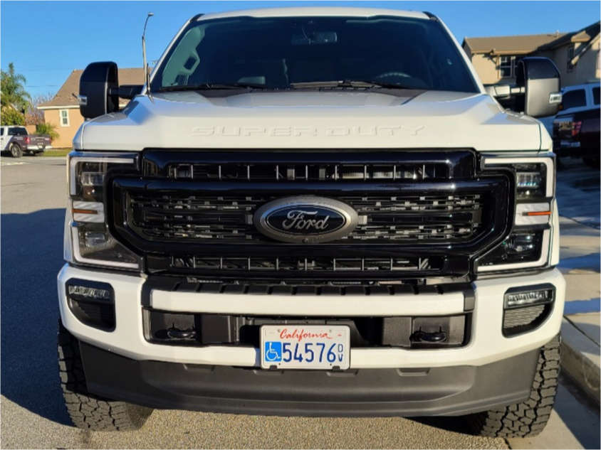 """2020 Ford F-350 Super Duty Slightly Aggressive on 20x9 1 offset Fuel Maverick and 37""""x12.5"""" Falken Wildpeak At3w on Leveling Kit - Custom Offsets Gallery"""