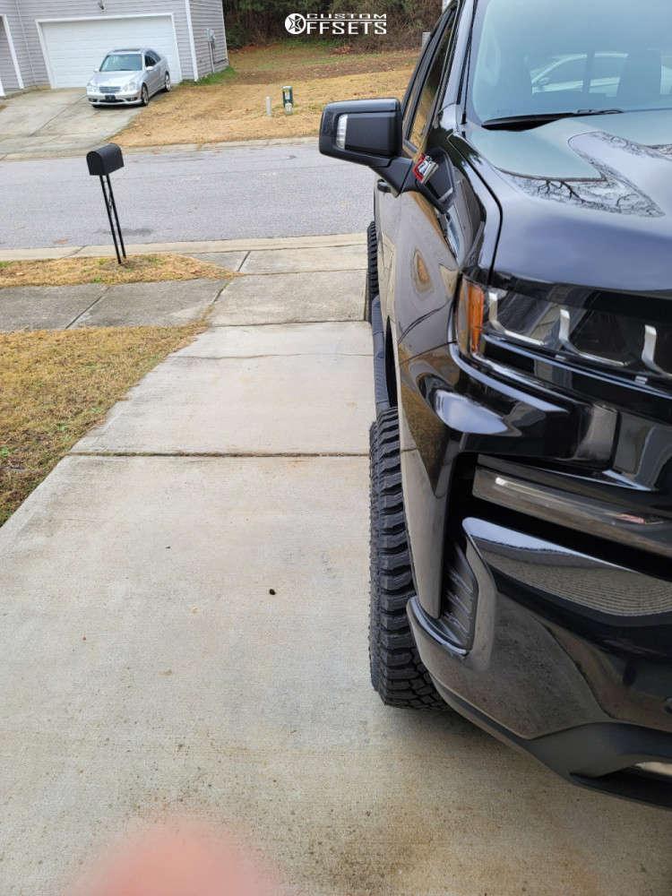 "2021 Chevrolet Silverado 1500 Aggressive > 1"" outside fender on 20x10 -19 offset Ballistic Rage & 33""x12.5"" Atturo Trail Blade Xt on Leveling Kit - Custom Offsets Gallery"