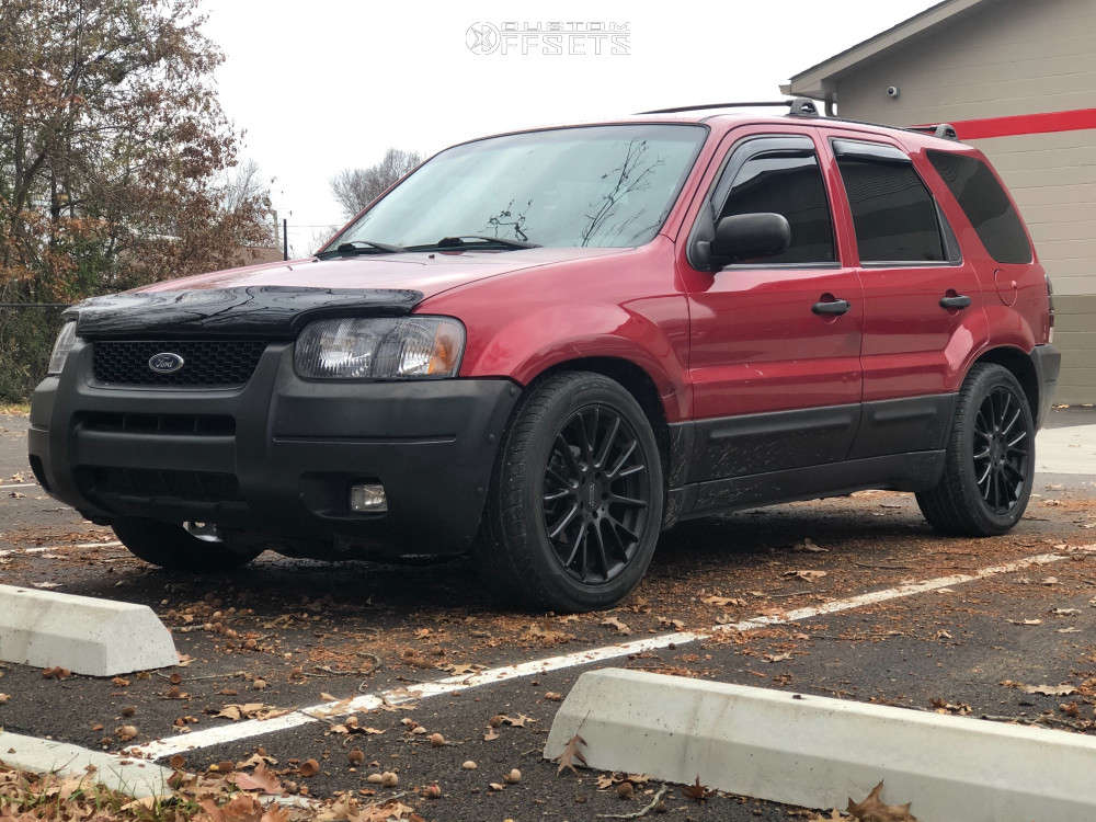 2003 Ford Escape Flush on 18x9 45 offset American Racing Ar904 and 255/50 Black Lion Champoint on Air Suspension - Custom Offsets Gallery