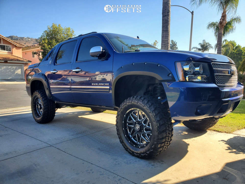 """2013 Chevrolet Avalanche Aggressive > 1"""" outside fender on 20x9 0 offset Hostile H108 & 35""""x12.5"""" Federal Couragia Mt on Suspension Lift 7.5"""" - Custom Offsets Gallery"""
