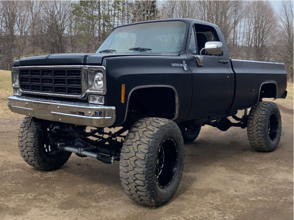 """1977 Chevrolet K10 HellaFlush on 20x12 -44 offset XD Xd820 and 38""""x15.5"""" Milestar Patagonia Mt on Suspension Lift 9"""" - Custom Offsets Gallery"""