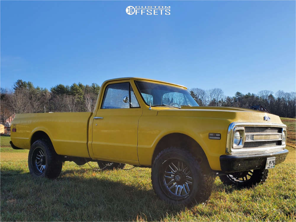 """1969 Chevrolet K20 Pickup Aggressive > 1"""" outside fender on 20x10 -18 offset Fuel D662 and 33""""x12.5"""" Toyo Open Country R/t on Stock Suspension - Custom Offsets Gallery"""