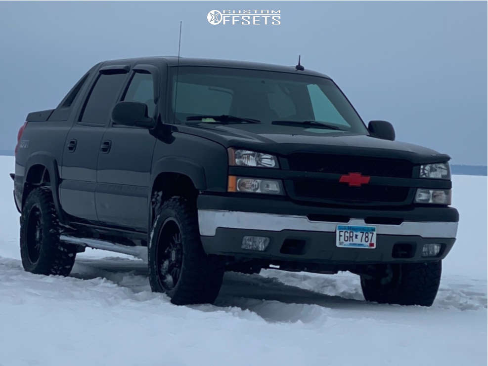 """2003 Chevrolet Avalanche 1500 Aggressive > 1"""" outside fender on 20x9 -12 offset Panther Offroad 580 & 33""""x12.5"""" Kanati Mud Hog on Suspension Lift 3"""" - Custom Offsets Gallery"""