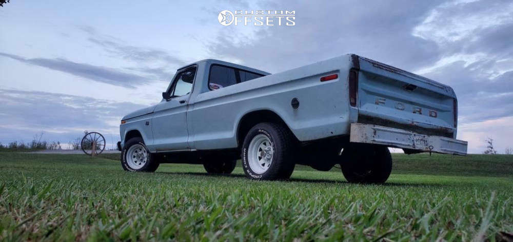 """1976 Ford F-100 Flush on 15x8 0 offset Pacer White Spoke and 27""""x10.5"""" Cooper Cobra Radial Gt on Lowered 2F / 4R - Custom Offsets Gallery"""