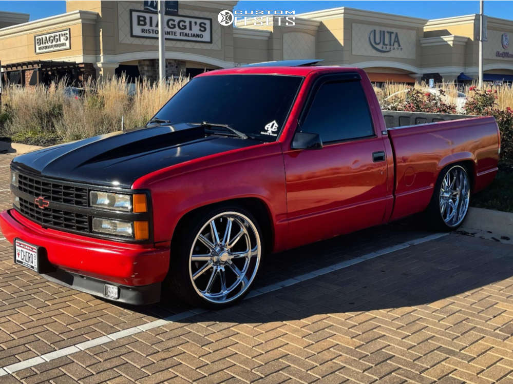 """1994 GMC C15/C1500 Pickup Aggressive > 1"""" outside fender on 22x9 0 offset US Mags Rambler & 255/30 Lionhart Lh-ten on Lowered 4F / 6R - Custom Offsets Gallery"""