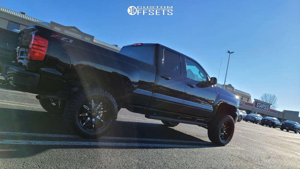 "2018 Chevrolet Silverado Aggressive > 1"" outside fender on 20x10 -25 offset Vision Manic & 33""x12.5"" Kenda Klever R/t on Suspension Lift 6"" - Custom Offsets Gallery"