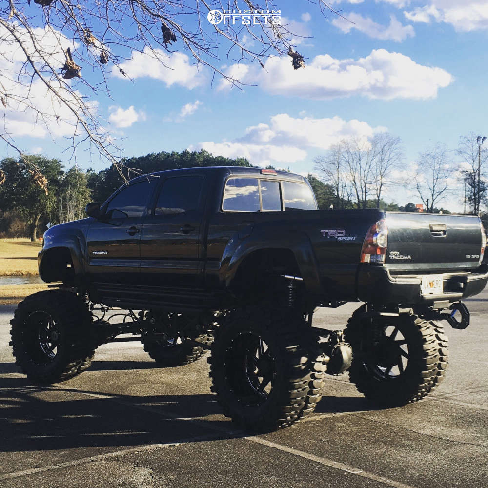 """2009 Toyota Tacoma Hella Stance >5"""" on 24x14 -76 offset Xtreme Force Xf006 & 44""""x19.5"""" Interco Tsl Bogger on Lifted >12"""" - Custom Offsets Gallery"""