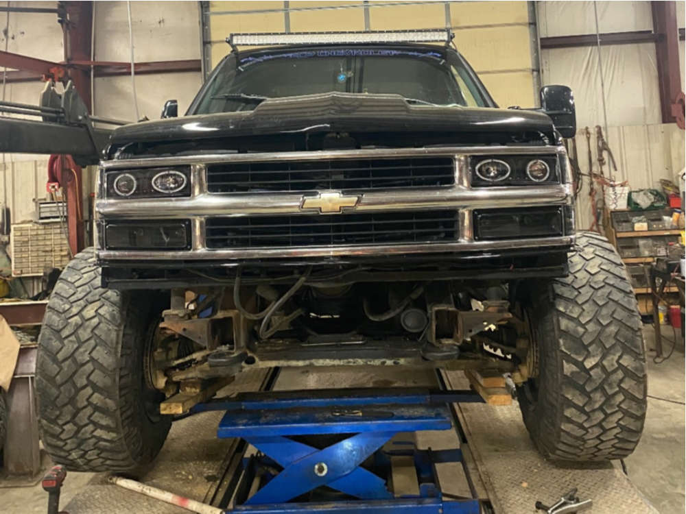 """1990 Chevrolet K1500 Hella Stance >5"""" on 20x14 -76 offset American Offroad A106 & 37""""x13.5"""" Nitto Trail Grappler on Body Lift 3"""" - Custom Offsets Gallery"""