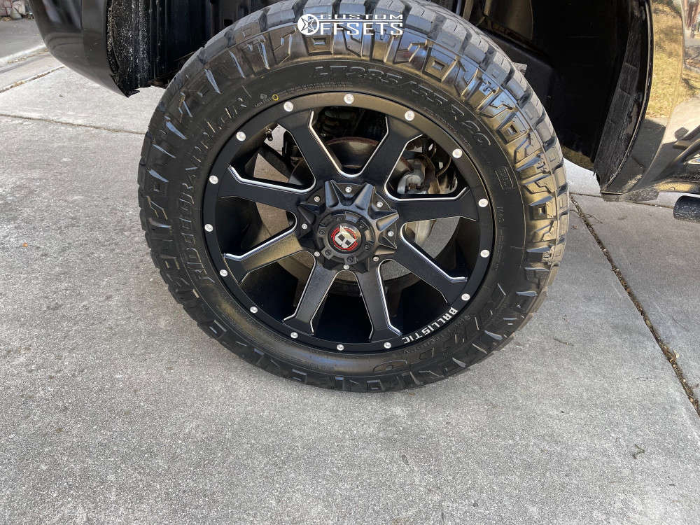 """2019 Nissan Frontier Aggressive > 1"""" outside fender on 20x9 0 offset Ballistic Hawk and 30""""x9.5"""" Bridgestone Ecopia Ep500 on Stock - Custom Offsets Gallery"""