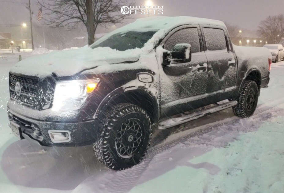 "2017 Nissan Titan Aggressive > 1"" outside fender on 20x9 0 offset Anthem Off-Road Avenger & 285/65 BFGoodrich All Terrain Ta Ko2 on Suspension Lift 3"" - Custom Offsets Gallery"