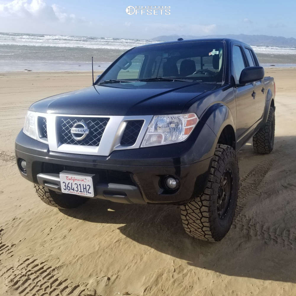 """2018 Nissan Frontier Aggressive > 1"""" outside fender on 16x8 0 offset Dx4 Rebel and 285/75 Nitto Ridge Grappler on Suspension Lift 3"""" - Custom Offsets Gallery"""