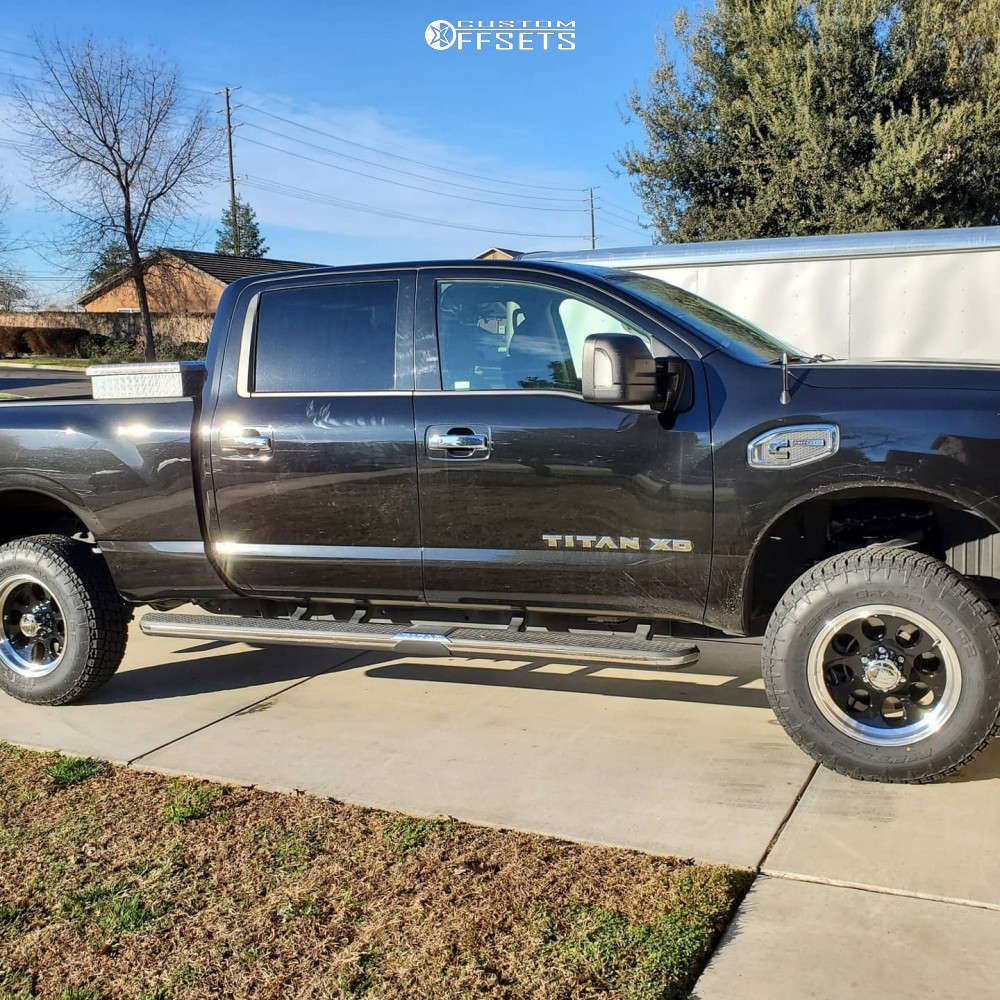 """2018 Nissan Titan XD Aggressive > 1"""" outside fender on 18x9 0 offset Ion Alloy 171 and 32""""x9.5"""" Nitto Terra Grappler G2 on Leveling Kit - Custom Offsets Gallery"""