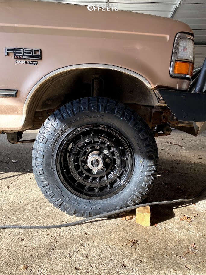 """1996 Ford F-350 Aggressive > 1"""" outside fender on 18x9 0 offset Anthem Off-Road Viper and 33""""x12.5"""" Nitto Ridge Grappler on Stock Suspension - Custom Offsets Gallery"""