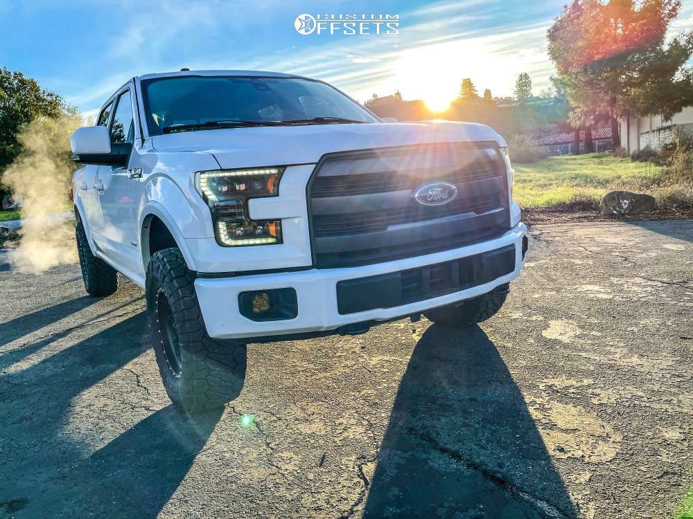 """2016 Ford F-150 Aggressive > 1"""" outside fender on 17x8.5 0 offset Method Mesh and 295/70 Nitto Ridge Grappler on Leveling Kit - Custom Offsets Gallery"""