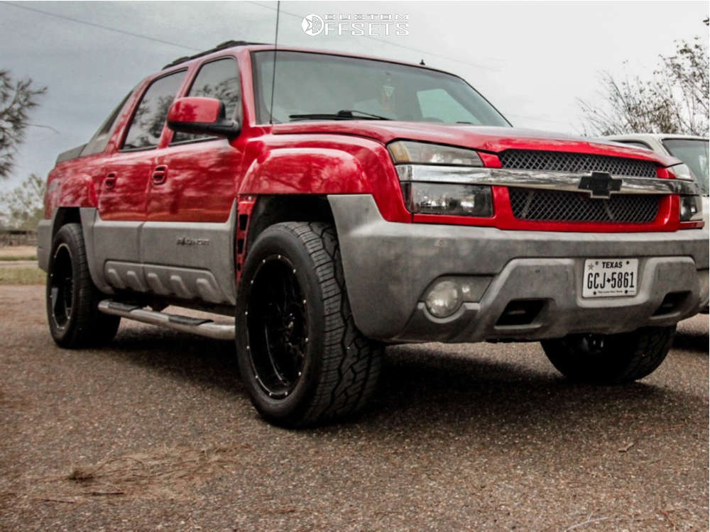 """2002 Chevrolet Avalanche 1500 Aggressive > 1"""" outside fender on 22x10 -19 offset Vision Rocker and 305""""x50"""" Nitto Nt420v on Stock Suspension - Custom Offsets Gallery"""