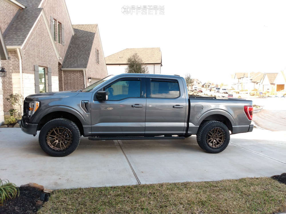 """2021 Ford F-150 Aggressive > 1"""" outside fender on 20x9 1 offset Fuel Rebel & 275/60 Toyo Tires Wildpeak At3w on Leveling Kit - Custom Offsets Gallery"""